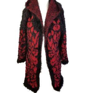Furry Cardigan Sweater | Black & Red size  L / XL